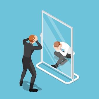 Piatto 3d isometrico uomo d'affari vede se stesso fallimento nello specchio. fallimento aziendale e concetto di bassa autostima.