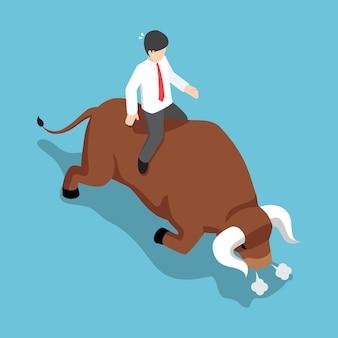 Uomo d'affari isometrico 3d piatto seduto sulla parte posteriore del toro arrabbiato. mercato azionario rialzista e concetto finanziario.