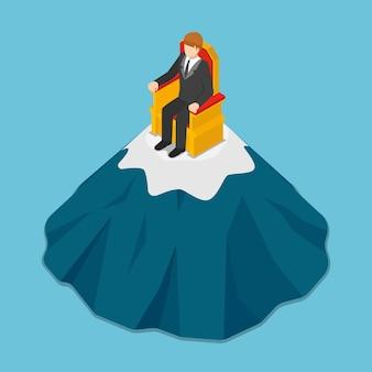 Uomo d'affari isometrico 3d piatto seduto sul trono in cima alla montagna. successo aziendale e concetto di leadership.