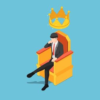 Piatto uomo d'affari isometrico 3d seduto sul trono con la corona sulla testa