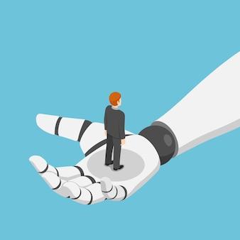 Piatto 3d isometrico uomo d'affari in piedi in mano ai robot. intelligenza artificiale e concetto di apprendimento automatico.