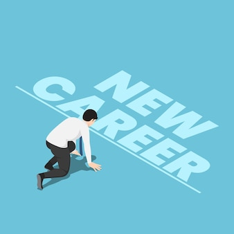 Piatto 3d isometrico uomo d'affari in posizione di partenza e pronto per iniziare una nuova carriera. inizia un nuovo concetto di carriera.