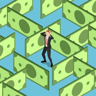 Piatto 3d isometrico uomo d'affari bloccato nel labirinto di banconote in dollari. concetto di crisi finanziaria.