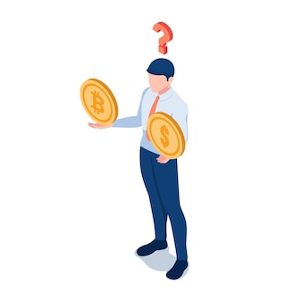 Piatto 3d isometrica imprenditore pensando a dollaro moneta e bitcoin sulle sue mani con punto interrogativo. dubbio sul concetto di investimenti in criptovaluta.