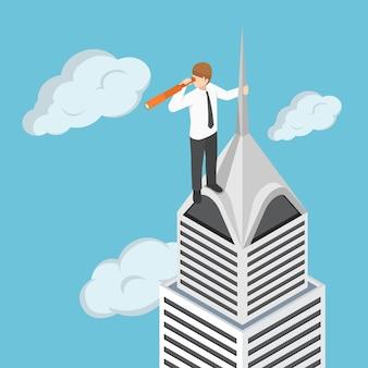 Piatto uomo d'affari isometrico 3d nella parte superiore del grattacielo che guarda attraverso il cannocchiale o il telescopio. visione aziendale e concetto di previsione di marketing.