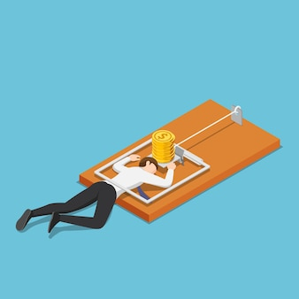 Piatto 3d isometrico uomo d'affari intrappolato in una trappola per topi a causa dei soldi. trappola aziendale e concetto di fallimento.