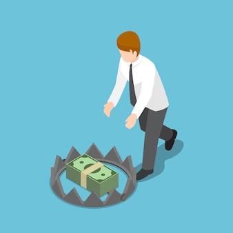 Uomo d'affari isometrico 3d piatto che cerca di prendere soldi dalla trappola per orsi. concetto di trappola finanziaria.