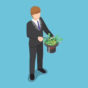 L'uomo d'affari isometrico 3d piatto usa un trucco magico per fare soldi dal cappello.