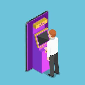 Uomo d'affari isometrico 3d piatto utilizzando un bancomat su smartphone. concetto di mobile banking.