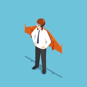 Piatto 3d isometrico uomo d'affari che indossa casco e occhiali da aviatore con ali giocattolo. avvio aziendale e concetto creativo.