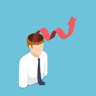 L'uomo d'affari isometrico 3d piatto con il grafico di crescita rosso esce dalla sua testa. successo di carriera e concetto di mentalità di crescita.
