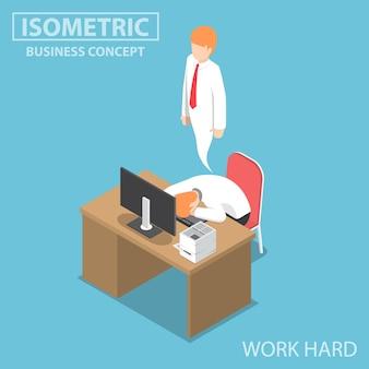 Uomo d'affari isometrico 3d piatto lavora duro fino a quando non muore, lavora duro concetto