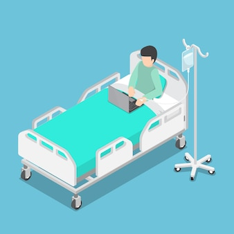 Uomo d'affari isometrico 3d piatto che lavora sul letto di ospedale con soluzione salina sulla mano dei pazienti, lavoro duro e concetto maniaco del lavoro
