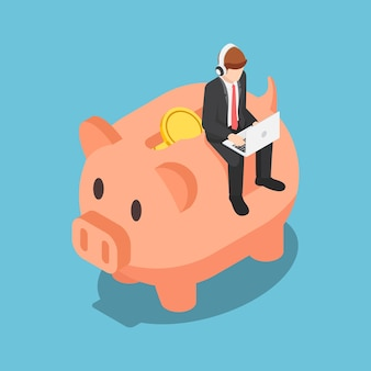 Uomo d'affari isometrico 3d piatto che lavora al computer portatile con le cuffie sul salvadanaio. risparmio finanziario e concetto di pianificazione della pensione.