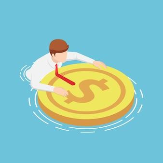Gli uomini d'affari isometrici 3d piatti stanno galleggiando sull'acqua con la boa del dollaro di salvataggio. crisi finanziaria e concetto di fondo di riserva.
