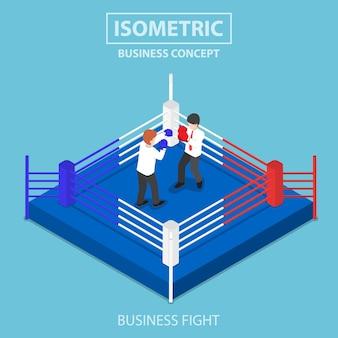 Uomini d'affari isometrici 3d piatti che combattono sul ring di pugilato, concetto di concorrenza di affari