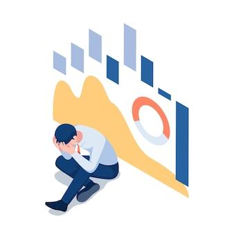 Piatto 3d isometrico uomo d'affari depresso con grafico del mercato azionario che cade sullo sfondo. crisi finanziaria e concetto di fallimento.