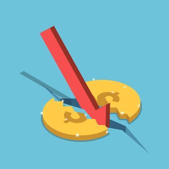 Piatto 3d isometrico dollari moneta incrinata e freccia rossa che cade. crisi del mercato finanziario e concetto di economia.