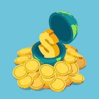 Piatto 3d isometrico simbolo del dollaro dorato all'interno del mondo su un mucchio di monete. economia mondiale e concetto finanziario.