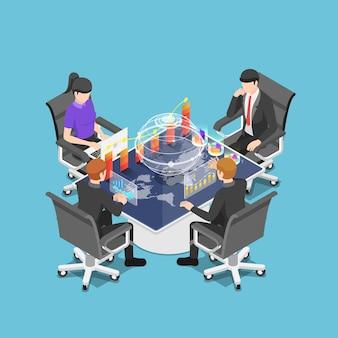 Gruppo isometrico 3d piatto di uomini d'affari che incontrano e analizzano grafici e grafici attorno a un tavolo interattivo futuristico. conferenza d'affari e concetto di tecnologia.