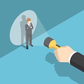 Torcia di puntamento a mano isometrica 3d piatta all'uomo d'affari. risorse umane e concetto di reclutamento.