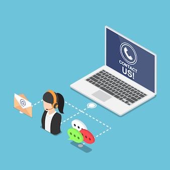 Computer portatile isometrico 3d piatto con contattaci simbolo e icona. supporto aziendale e concetto di servizio clienti.