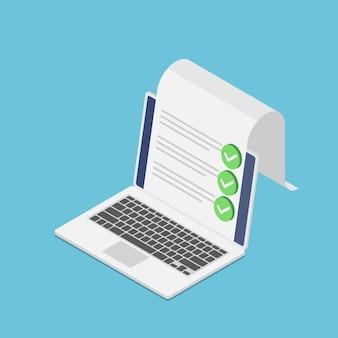 Computer portatile isometrico 3d piatto con documento e segno di spunta. sondaggio online e concetto di lista di controllo.