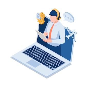 Piatto 3d isometrico maschio supporto tecnico operatore indossando la cuffia sullo schermo del computer portatile. call center di assistenza clienti e supporto tecnico.