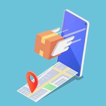 Scatola di pacchi isometrica 3d piatta che vola in avanti rapidamente dallo smartphone con il perno sulla mappa. concetto di servizi di consegna veloce e sicuro.
