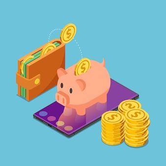 Piatto salvadanaio isometrico 3d su smartphone con portafoglio e monete in dollari. concetto di mobile e internet banking.
