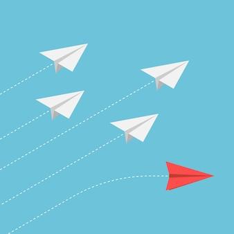 Piatto 3d isometrico aeroplano di carta rossa che cambia direzione dal gruppo. distinguiti dalla massa e pensa a un concetto diverso.
