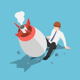 Piatto 3d isometrico avvio razzo crash sul pavimento tra la gamba dell'uomo d'affari. concetto di fallimento di avvio dell'attività.
