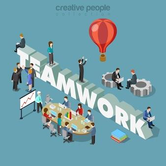 Piatto 3d concetto di lavoro di squadra stile isometrico