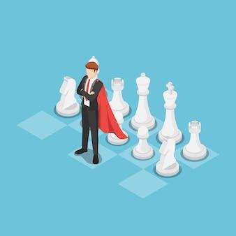 Piatto 3d isometrico super uomo d'affari come leader sulla scacchiera. strategia aziendale e concetto di leadership.