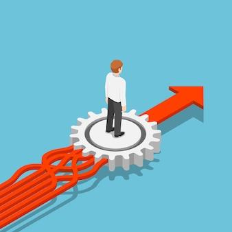 Le frecce aggrovigliate isometriche piatte 3d sono disposte in modo ordinato dall'ingranaggio. gestione dei processi aziendali e concetto di gestione dei dati.