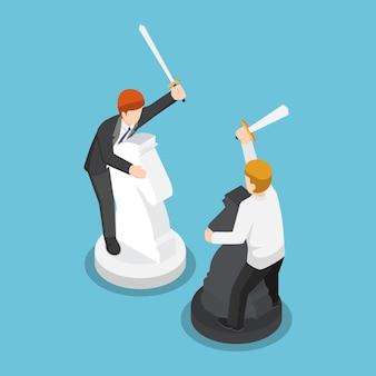 Piatto 3d isometrico due uomini d'affari che cavalcano scacchi e si combattono. concetto di concorrenza aziendale.