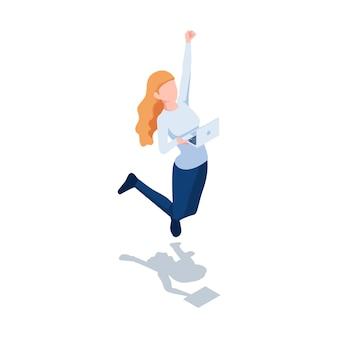 Celebrazione di salto della donna isometrica 3d piana mentre tiene il computer portatile. successo aziendale e concetto di lavoro fatto.