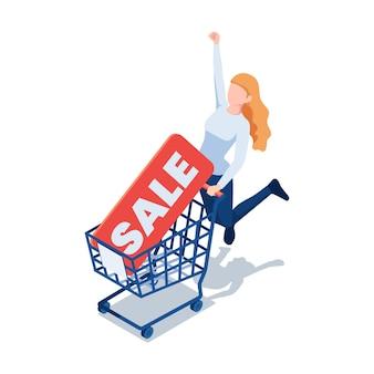 Celebrazione di salto della donna isometrica piana 3d con il cartellino del prezzo di vendita nel carrello. concetto di affare di sconto eccellente.