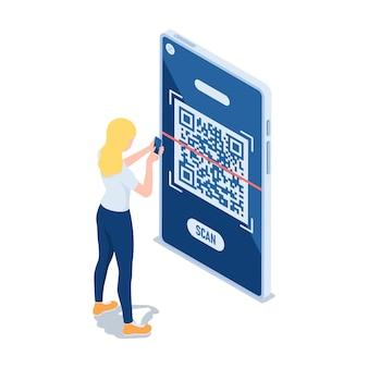 La donna isometrica 3d piatta usa il codice qr per la scansione dello smartphone. concetto di tecnologia di verifica del codice qr.