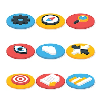 Icone isometriche del sito web 3d piatte impostate a forma circolare. set di icone vettoriali per siti web e concetti aziendali