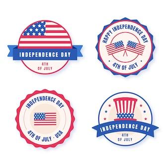 Collezione di badge per il giorno dell'indipendenza del 4 luglio