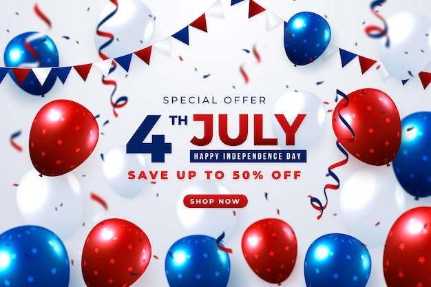 Piatto 4 luglio - priorità bassa dei palloncini del giorno dell'indipendenza