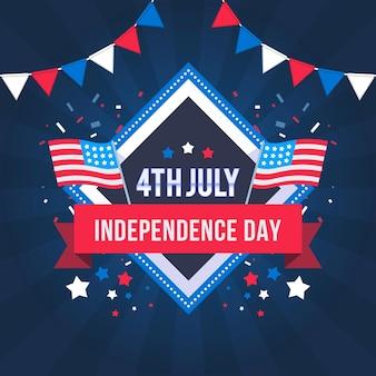 Illustrazione del 4 ° luglio giorno dell'indipendenza piatta