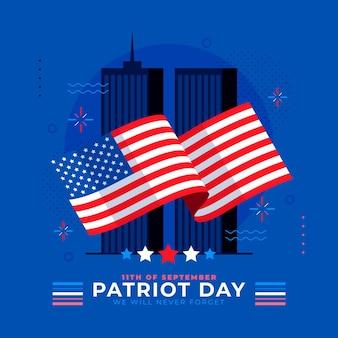 Illustrazione piatta del giorno del patriota 9.11