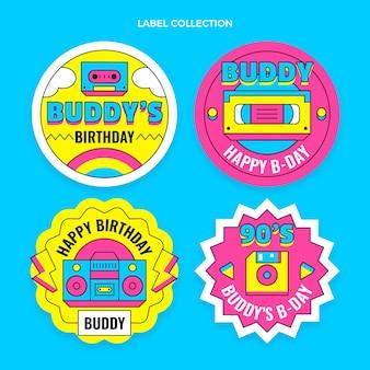 Collezione di etichette di compleanno nostalgiche piatte degli anni '90