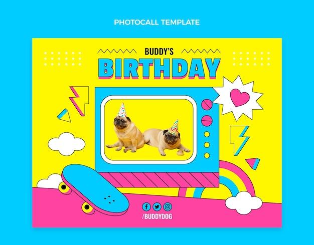 Modello di photocall di compleanno nostalgico piatto anni '90