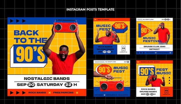 Collezione di post instagram del festival musicale nostalgico piatto anni '90