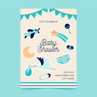 Baby shower modello volantino piatto a5