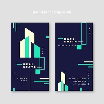 Biglietto da visita verticale piatto astratto geometrico immobiliare