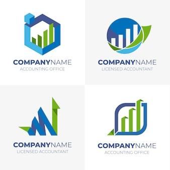 Raccolta di modelli di logo di contabilità piatta
